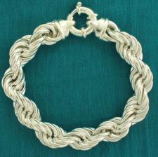Sterling silver hollow rope chain bracelet 12mm.