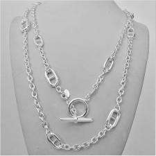 Solid sterling silver anchor chain necklace. Length 120cm, 96 grams. T-bar closure.