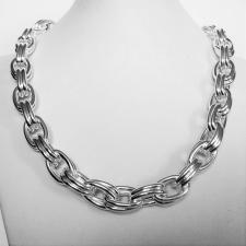 Sterling silver double oval link necklace 12mm. Hollow chain.