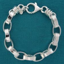 Bracciale in argento 925 MASSICCIO, rolo ovale 9,5mm, filo piatto. Finali componente a maglie ton...
