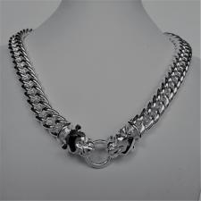 Sterling silver double panther necklace. Double curb link chain 12,5mm.