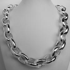Sterling silver oval rolo link necklace