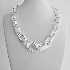 Sterling silver graduated double oval link necklace 17-10mm. Hollow chain. 66 grams.