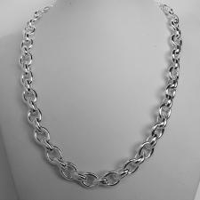 Women's 925 Italy silver necklace. Oval & double oval link chain 9mm.