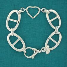 Solid heart bracelet in sterling silver