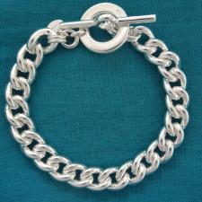 Bracciale in argento 925 MASSICCIO 55 grammi. Maglia grumetta 10mm con chiusura T-bar, Toggle.