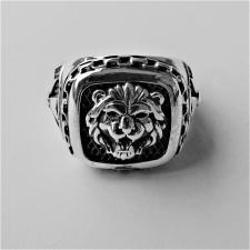 Anello uomo chevalier argento con leone
