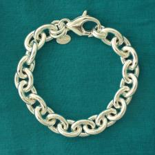 Sterling silver oval link bracelet 12mm. Hollow chain.