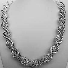 Sterling silver hollow rope chain necklace 14mm. 125 grams.