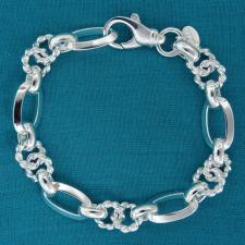 Sterling silver textured link bracelet 9mm. Made in Tuscany, Italy.