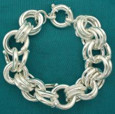 VISTOSO bracciale vintage in argento 925, maglia ''Garibaldi'' gigante 20mm.