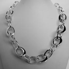 Sterling silver handmade necklace. Asymmetrical  oval link 17mm.