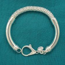 Bracciale argento maglia Pop Corn e tubi laterali.
