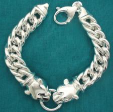 Women's sterling silver panther bracelet