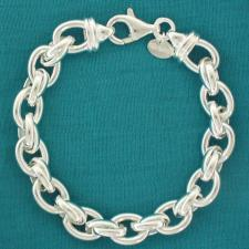 Women's 925 Italy silver bracelet. Oval & double oval link chain 9mm.
