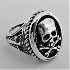 Anello donna in argento 925. Teschio Jolly Roger.