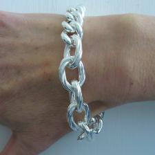 Sterling silver textured oval link bracelet