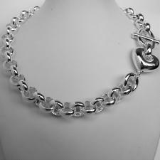 Sterling silver round rolo link necklace 14mm with heart. Hollow link. Silver belcher necklace.