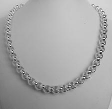 Sterling silver round rolo link necklace 9mm. Hollow link. Silver belcher necklace.