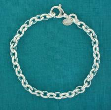 Sterling silver oval rolo link bracelet 6mm. Solid chain.