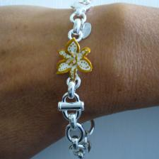 Sterling silver enamel floral bracelet orange and white