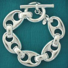 925 silver women's bracelet, italian style. Large marina link 22mm, T-bar closure.