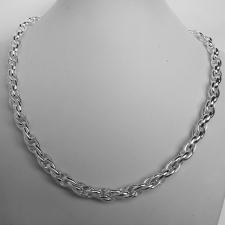 Handmade sterling silver necklace. Double oval link 7mm.