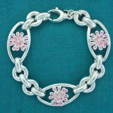 Sterling silver enamel flower bracelet. Pink-Light pink.