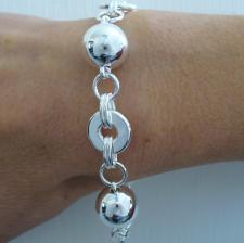 Sterling silver bracelet with balls & round links 14mm.