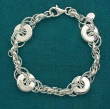 Solid 925 silver, oval and flat link bracelet 13,5mm.