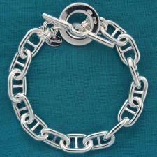 Bracciale in argento 925 MASSICCIO 37 grammi. Maglia traversino 10mm con chiusura T-bar, Toggle.