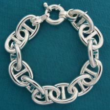 Anchor chain bracelet in solid 925 sterling silver