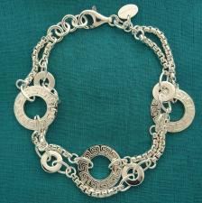 925 silver Greek key link bracelet