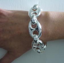 GRANDE Maglia marina bracciale argento 925.